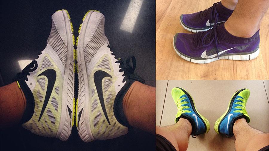 Ba đôi giày mình đang sử dụng: Nike Zoom Fly, Nike Free Flyknit và Nike Flyknit Lunar 2