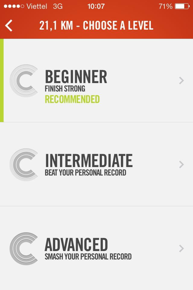 Nike+ Coach khuyến khích mình chọn Beginner (mới bắt đầu) cho cự ly 21KM