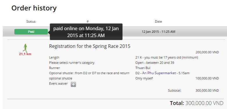 Thanh toán Spring Race 2015 - cự ly 21K