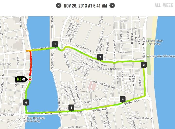 Kỉ niệm chạy bộ lần đầu ở Đà Nẵng tháng 11/2013
