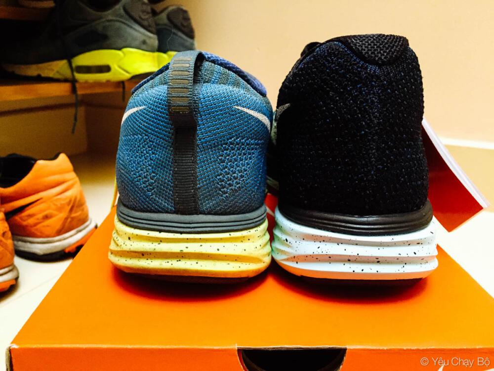 So sánh gót giày Flyknit Lunar 3 và 2