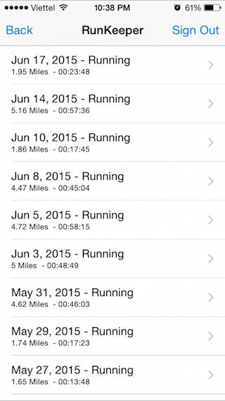 Thông tin tập luyện từ Runkeeper