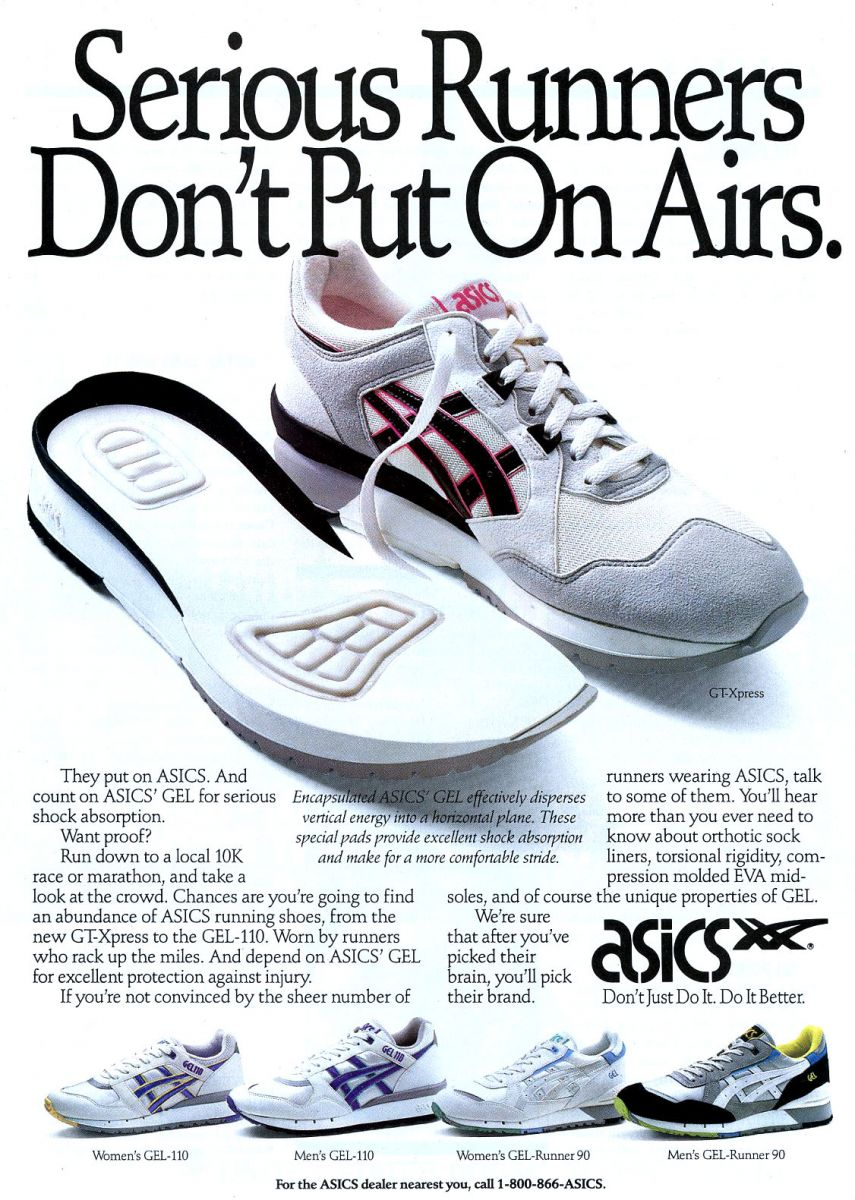 Quảng cáo Asics GEL năm 1990