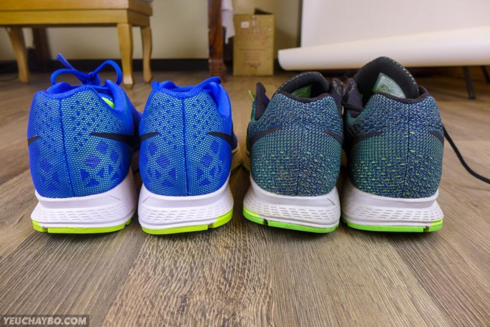 Nike Pegasus 32 bên cạnh Nike Pegasus 31