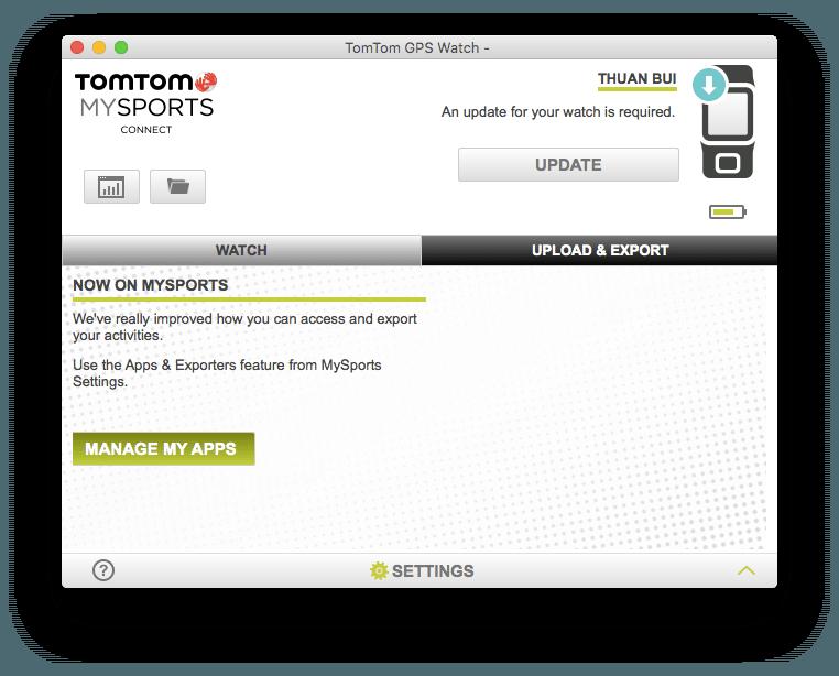 Từ ứng dụng TomTom MySports Connect, bạn bấm nút Manage My Apps để truy cập trang quản lý ứng dụng