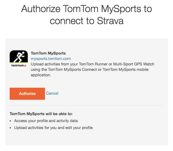 Bấm Authorize để kết nối TomTom và Strava