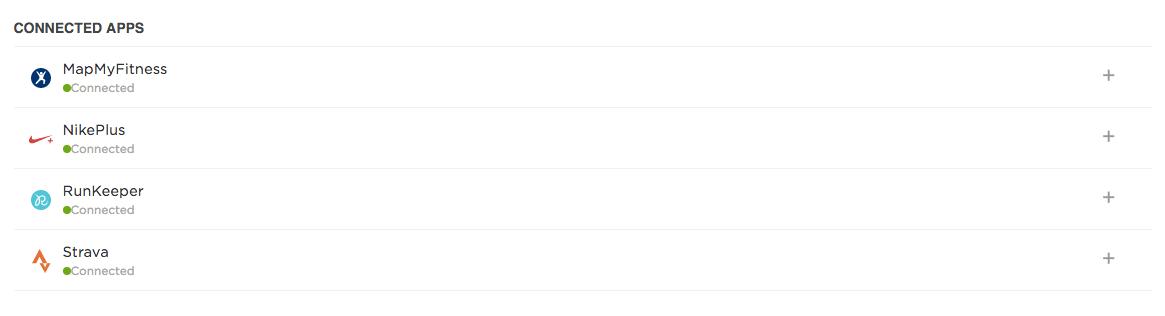 Strava đã được thêm vào danh sách Connected Apps