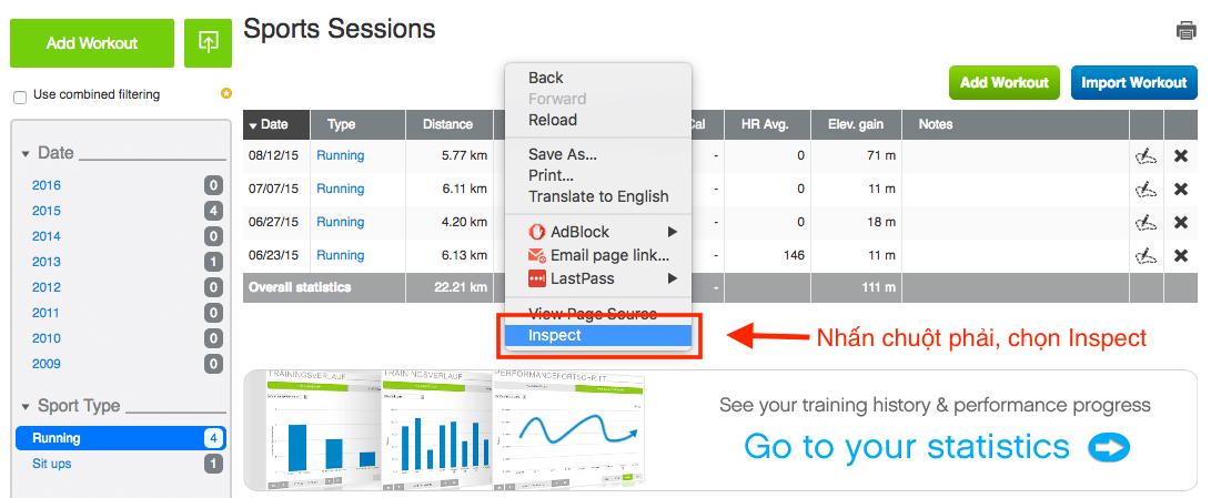 Truy cập trang quản lý thành tích của Runtastic bằng Chrome rồi chọn Inspect
