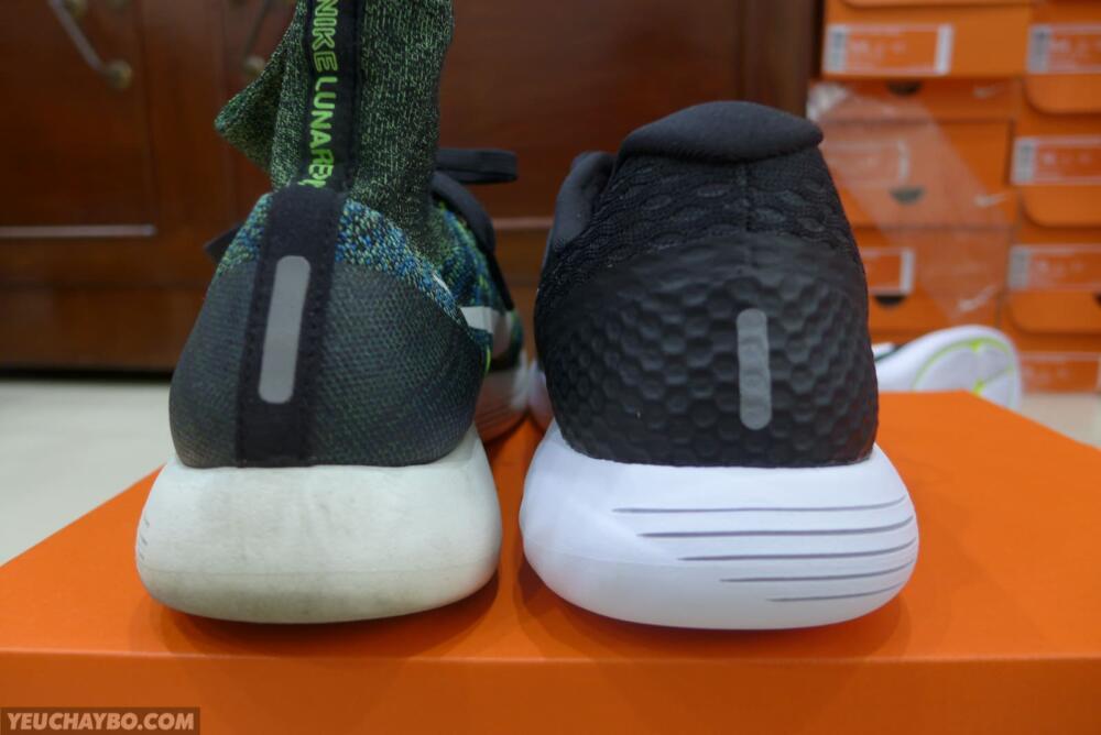 Gót giày Nike LunarGlide 8 vs LunarEpic Flyknit
