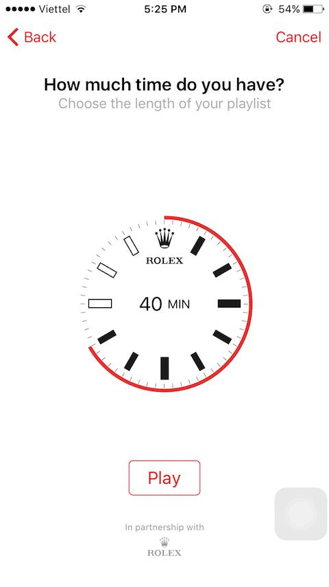 Chỉnh thời gian bạn muốn nghe. Ví dụ: bạn chạy 40 phút, chọn thời gian tương ứng. TED sẽ tự động tổng hợp video có thời gian tương đương