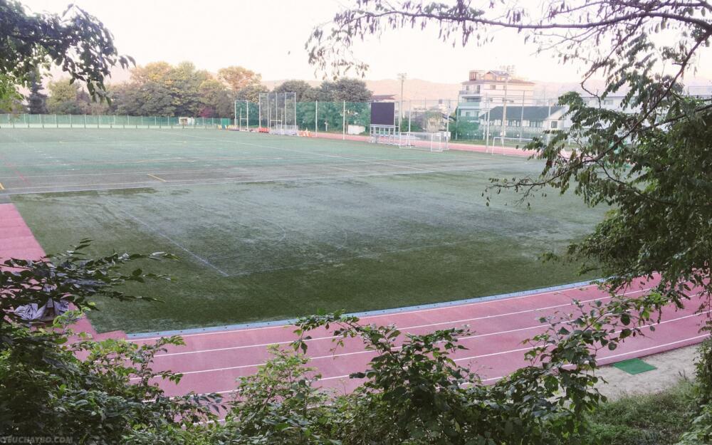 Khám phá ra được một sân vận động trên đồi với đường track rất đẹp