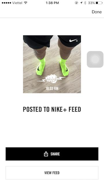 Chia sẻ lên Nike+ Feed để lưu ảnh rồi sau đó qua Instagram share