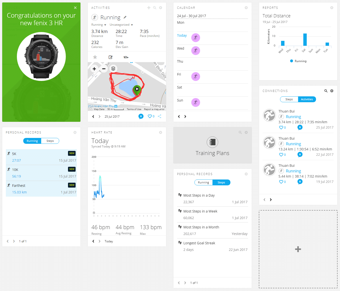 how to create a dashboard in garmin connect